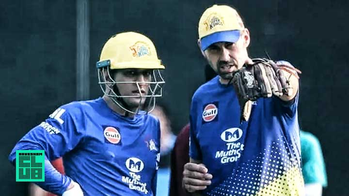 CSK captain MS Dhoni along with coach Stephen Fleming(Twitter)